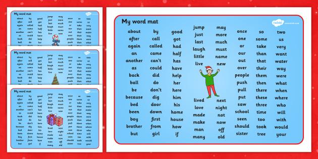 Elf Themed Phase KS1 Word Mat - elf, phase, word mat, mat, ks1