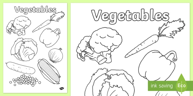 Vegetables Colouring Poster - vegetables, colouring, poster