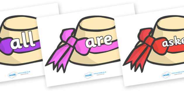 Tricky Words on Summer Hats - Tricky words, DfES Letters and Sounds, Letters and sounds, display, words