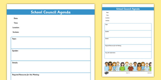 School Council Meeting Agenda Template school council – Template for Agenda