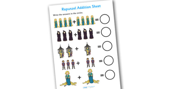 Rapunzel Addition Sheets - rapunzel, addition, sheet, addition sheet, rapunzel addition, rapunzel worksheet, addition worksheet, maths, numeracy