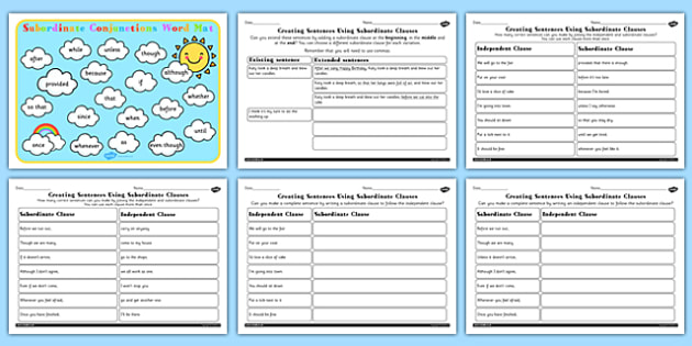 Using Subordinate Clause Lesson Teaching Pack subordinate – Subordinate Clauses Worksheet