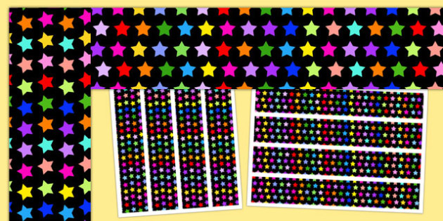 Multicoloured Star Themed Display Border - star, display border, display, border
