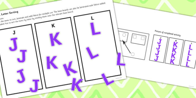 Workstation Pack Letter Sorting Activities Set 2 - teacch