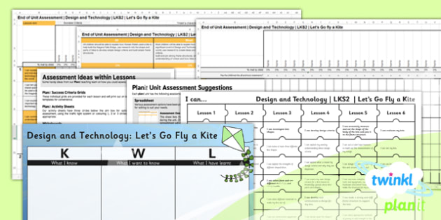 PlanIt - DT LKS2 - Let's Go Fly a Kite Unit Assessment Pack - planit, assessment, pack