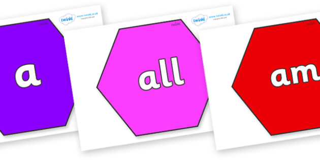 Foundation Stage 2 Keywords on Hexagons - FS2, CLL, keywords, Communication language and literacy,  Display, Key words, high frequency words, foundation stage literacy, DfES Letters and Sounds, Letters and Sounds, spelling