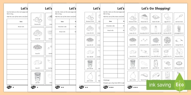 Shopping List Differentiated Activity Sheets - Australian General Mathematics mathematicsshoppingcurrencyaustralian currencygrocerieslist,Australia