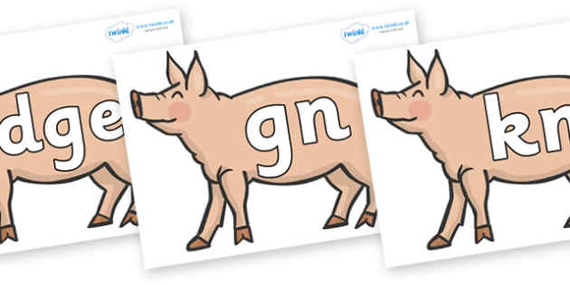 Silent Letters on Pigs to Support Teaching on Pig in the Pond - Silent Letters, silent letter, letter blend, consonant, consonants, digraph, trigraph, A-Z letters, literacy, alphabet, letters, alternative sounds