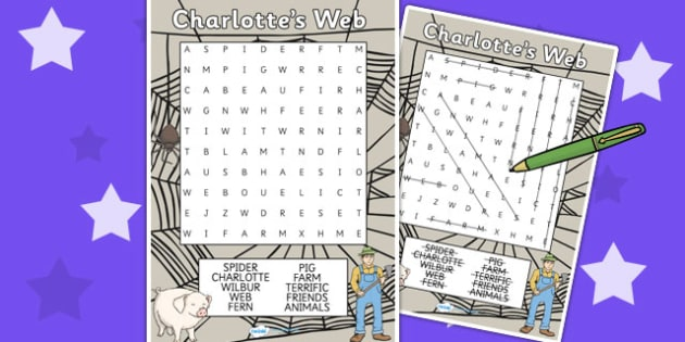 Charlotte's Web Differentiated Wordsearch - word games, story