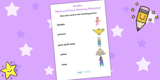 Aladdin Word and Picture Match - aladdin, word, picture, match