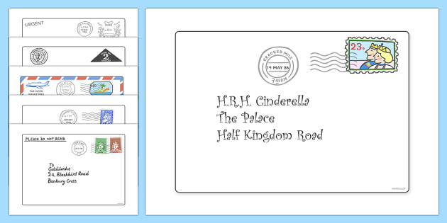 The Jolly Postman Letters to Support Teaching on The Jolly Postman - blue, postman, jolly, letter, Janet Ahlberg, Cinderella, letters, cards, post, story, story book, book resources, Three Bears, wolf, gian, goldilocks, postcard, witch, palace
