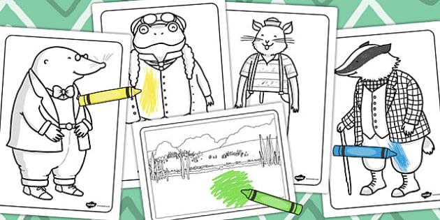 The Wind in the Willows Colouring Sheets - colour, worksheet