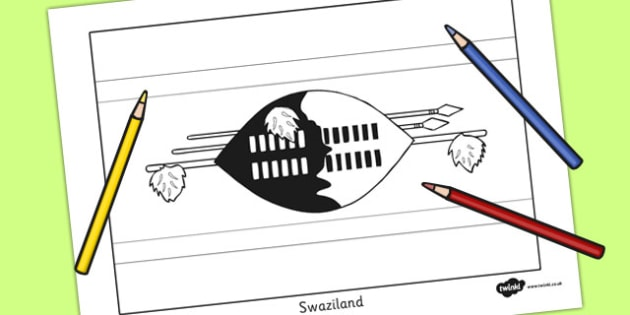 Swaziland Flag Colouring Sheet - countries, geography, colour