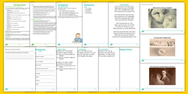 My Beginnings History Book Chapter Pack - Elderly, Reminiscence, Care Homes, Life History Books