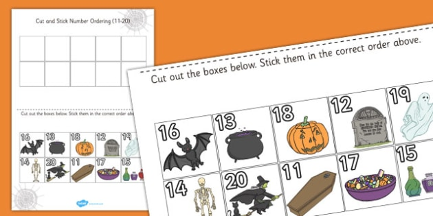 Halloween Themed Cut and Stick Number Ordering Activity 11-20 - halloween, cut, stick, ordering sheets