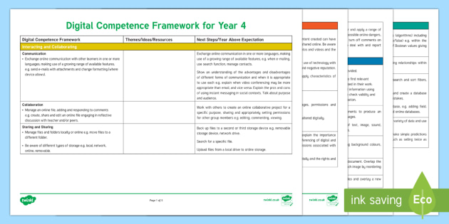 Digital Competence Framework Year 4 Planning Template