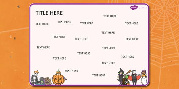 Halloween Themed Editable Word Mat - halloween, word mat, mat