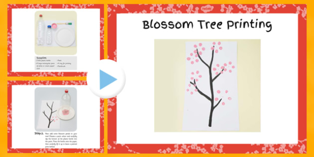 Blossom Tree Printing Craft Instructions PowerPoint - blossom, tree, printing, craft, instructions, powerpoint
