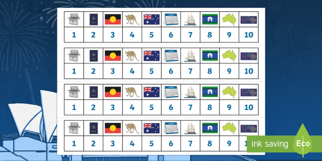 Australia Day Number Tracks 0-10 - australia, number tracks, day
