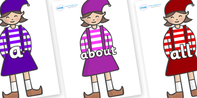 100 High Frequency Words on Elf (Girl) - High frequency words, hfw, DfES Letters and Sounds, Letters and Sounds, display words