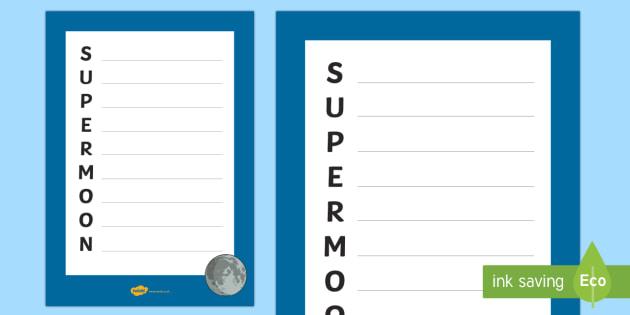 Supermoon Acrostic Poem - moon, orbit, supermoon, lunar, earth, space, lune