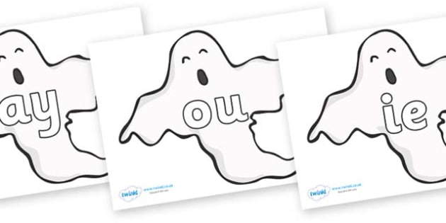 Phase 5 Phonemes on Ghosts (Plain) - Phonemes, phoneme, Phase 5, Phase five, Foundation, Literacy, Letters and Sounds, DfES, display