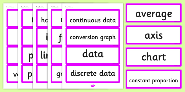 Year 6 2014 Curriculum Data and Statistics Vocabulary Cards - data