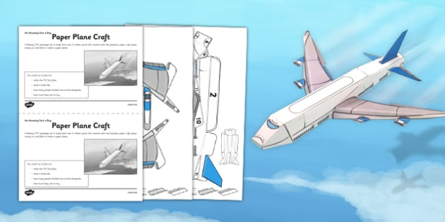 Paper Plane Craft Activity Sheet - jet, plane, craft, paper plane, activity, worksheet
