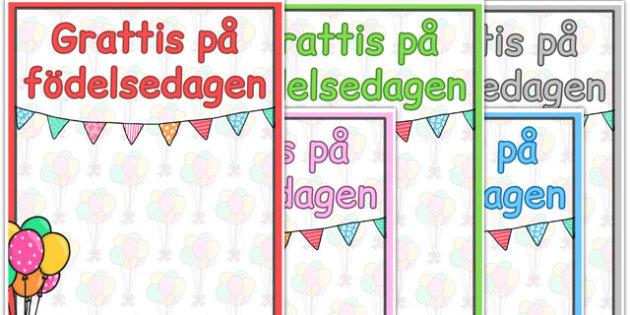 Swedish Happy Birthday Posters - swedish, happy birthday, poster
