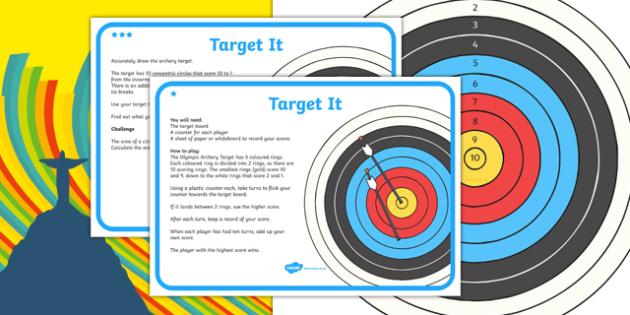 KS2 Maths The Olympics Rio 2016 Archery Target Activity - ksa2, maths, olympics, rio olympics, rio 2016, archery, target, activity, game