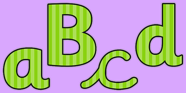 Green Striped Themed Display Lettering - display, lettering