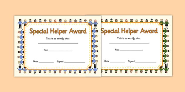 Special Helper Award Certificates - special helper award certificates, special helper, certificates, award, well done, reward, medal, rewards, school, general, certificate, achievement