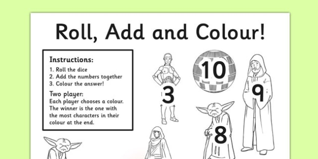 Space Wars Themed Roll and Colour Worksheet - space wars, star wars, space, wars, star, roll, colour