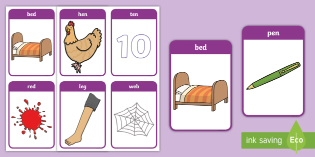CVC Word Cards (e) - CVC, CVC word, three phoneme words, three sound words, consonant vowel consonant, words, three letter words, letters and sounds, DfES letters and sounds