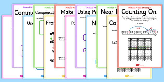 Mental Maths Strategies - mental maths, mental, maths, strategies, display, poster