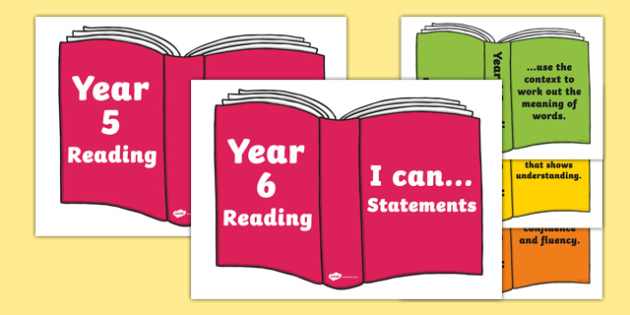 UKS2 I Can Reading Statements on Books - year 6, i can, reading, statements, books, read
