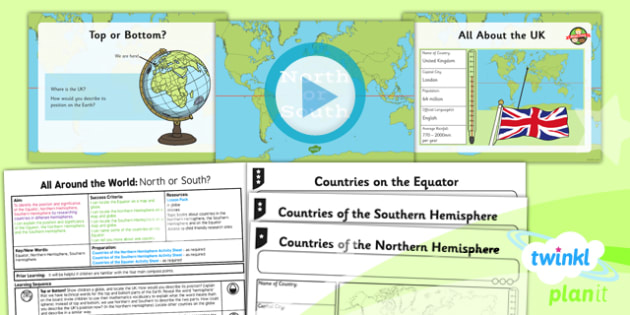 PlanIt - Geography Year 4 - All Around the World Lesson 1: North or South Lesson Pack