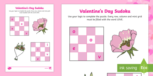 Valentine's Day Sudoku Activity - Valentine's Day, Feb 14th, love, cupid, hearts, valentine, sudoku, love