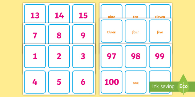 Numerals and Words Matching Cards - Maths Games & Activities Primary Resources, numbers, numeracy