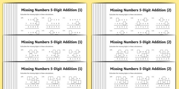 Addition 5-Digit Numbers Missing Numbers Differentiated Activity Sheet Pack, worksheet