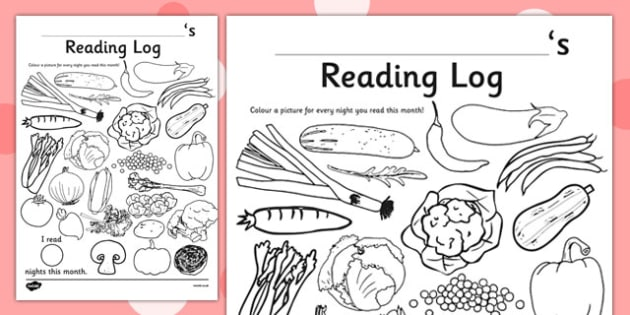 Vegetable Themed Colour In Reading Log - food, veg, read, reading record, harvest