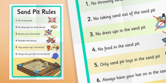 Sand Pit Rules Display Poster - provision, EYFS, sand tray, behaviour, enhancement, early years, key stage 1