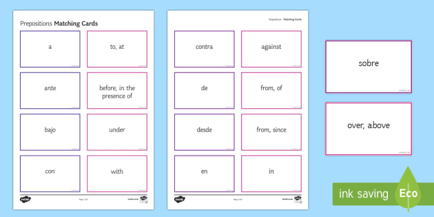 Preposition Matching Cards