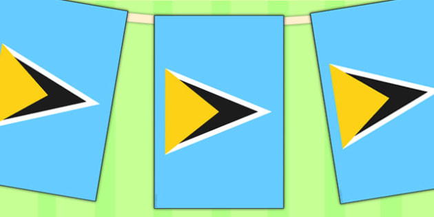 St Lucia Flag Display Bunting - countries, geography, display