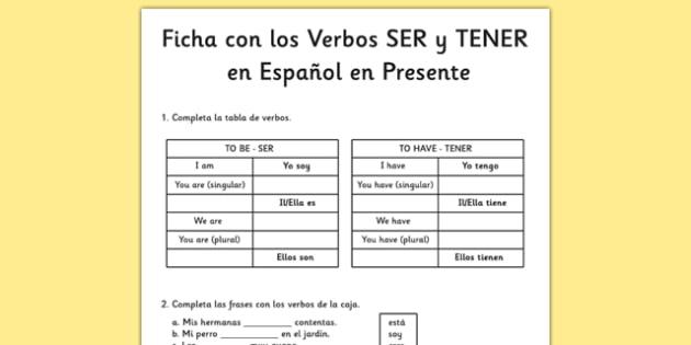 Ficha Verbos Ser, Estar y Tener en presente simple en español - spanish, Grammar, gram