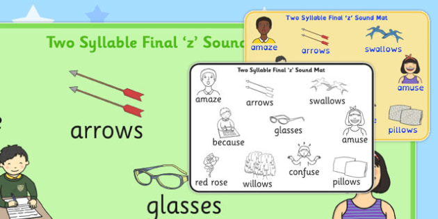 Two Syllable Final 'Z' Sound Word Mat 2 - final z sound, z sound