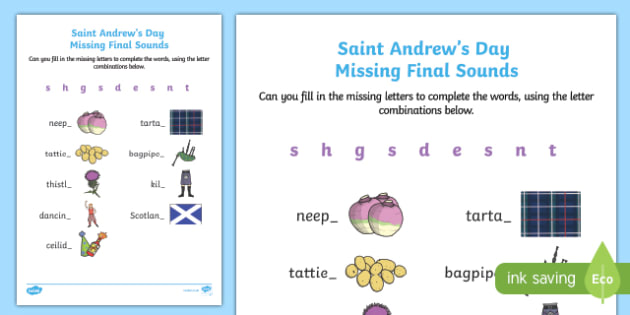 Saint Andrew's Day Missing Final Sounds Activity Sheet-Scottish, worksheet