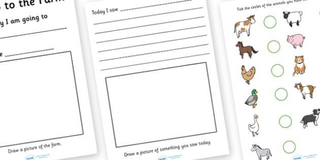 Twinkl Farm Animal Colouring Pages : On the farm writing frames and worksheets primary page 1