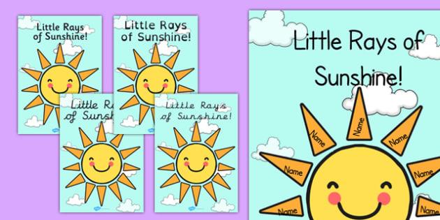 Editable Little Rays of Sunshine Poster - editable, ray of sunshine, class, poster, display