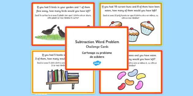 KS1 Subtraction Word Problem Challenge Cards Romanian Translation - romanian, challenge cards, ks1, subtraction, word problem